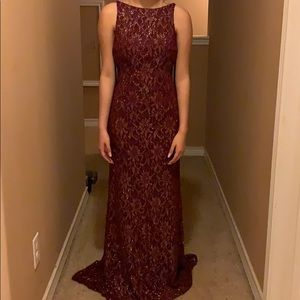 Beautiful maroon and gold prom dress